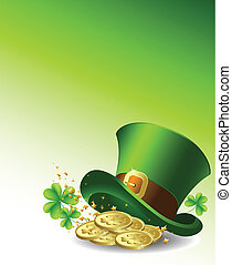 Background to the St Patricks Day with a green hat and gold...