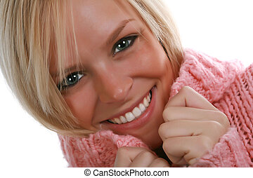 Cute and Cozy - cute blond woman wearing a cozy pink sweater
