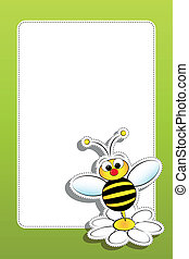 Bee with daisy and blank frame