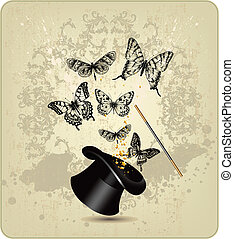 Magic wand and hat with butterflies on a vintage background.