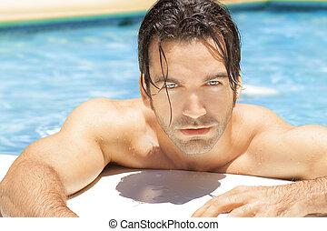 Sexy, caliente, tipo, piscina
