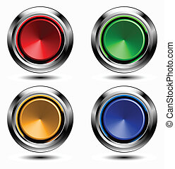 Set of colored buttons with chrome stroke.