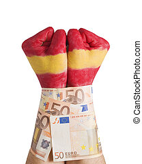 Hands painted flag Spain cuffed 50 euro bills - Two hands...