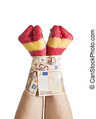 Two hands painted flag Spain and cuffed with 50 euro bills -...