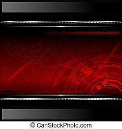 Technological red background with metallic banner. Vector...