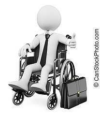 3D business white people Handicapped businessman - 3d white...