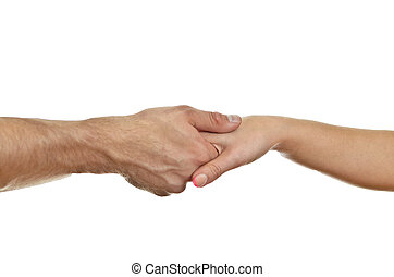 Man delicately shaking womans hand Isolated on white