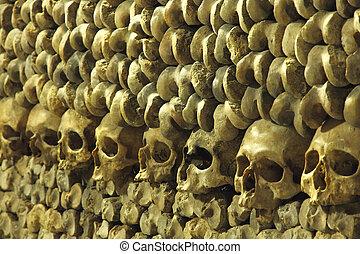 Les, Catacombes, parís