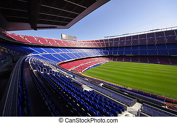 football stadium - wide view of FC Barcelona Nou Camp soccer...