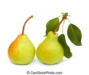 pears on white - two pears on white background