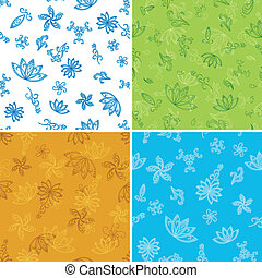 Set abstract seamless floral backgrounds with outline...