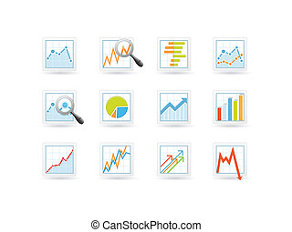 Statistics and analytics icons with charts and diagrams