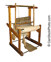 Ancient wooden loom isolated over white background