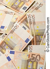 Lot of money fifty euros banknotes for background or to be rich