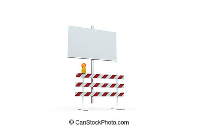 roadblock with blank billboard isolated on white background