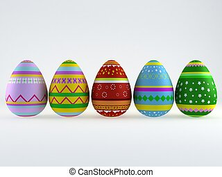 3d easter eggs - 3d render of easter eggs