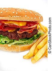 tocino, queso, hamburguesa, fríe