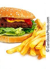 hechaa mano, cheeseburger, fríe