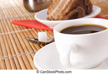 cup of coffee, pot and pie on table - cup of coffee, pot,...