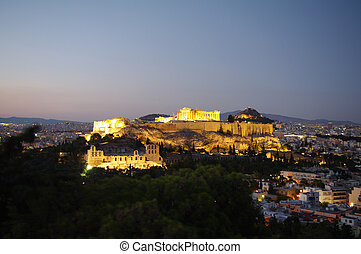 The Acropolis of Athens - Night view of the Athens Acropolis...