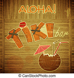 Retro Design Tiki Bar Menu on wooden background - Vintage...