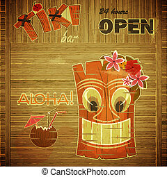 Vintage design hawaii menu - invitation to Tiki Bar - vector...