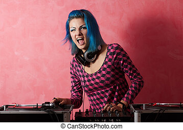 Punk girl DJ with dyed turqouise hair - Get ready to rock...