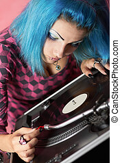 Punk girl DJ with dyed turqouise hair - Manga-style punk...