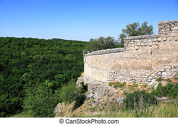 Ancient Stronghold - Stone wall of the ancient fortress on...