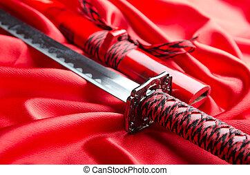 japonés, espada, takana, rojo, raso, Plano de fondo