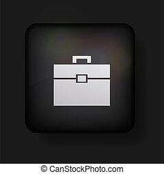Vector briefcase icon on black. Eps 10