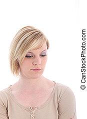 Somber sad young woman