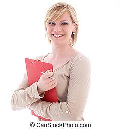 sorrindo, pasta, vermelho, secretária