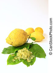 Candied lemon-peel - Citron Citrus medica, lemon Citrus x...