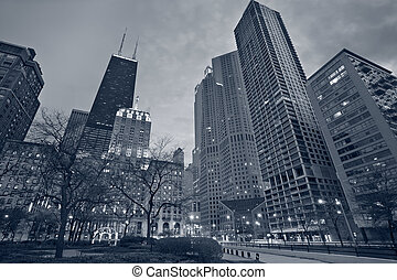 City of Chicago - Toned image of the Chicago downtown at...