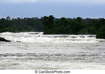 Nile River - Bujagali Falls + River in Uganda, Africa - Nile...