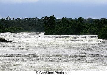 Nile River - Bujagali Falls + River in Uganda, Africa - Nile...