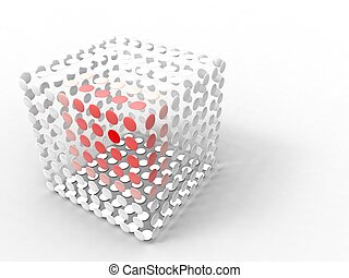 illustration of a cube made of white and red circle spaced