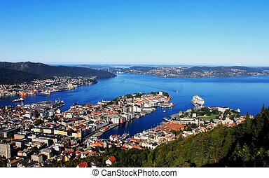 Panorama of gulf, City of Bergen, N - This is a full view...