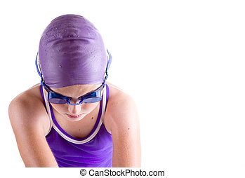 Swimmer in dive pose - Determined young swimmer in dive pose