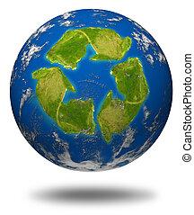 ambiente, tierra, globo, verde