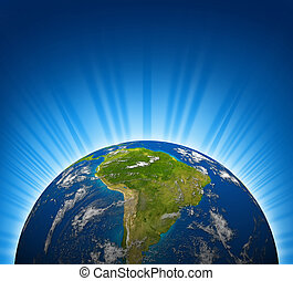South America View On An Earth Planet