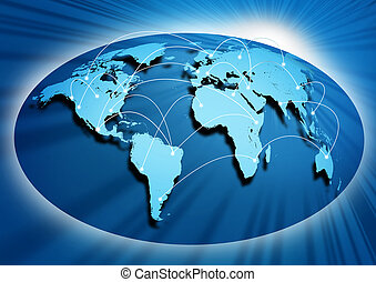 Global networking symbol of international comunication...