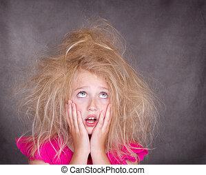 pelo, niña, enredado, loco