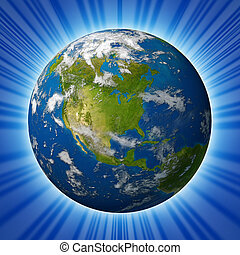 Earth planet Glowing With North America - Earth planet...