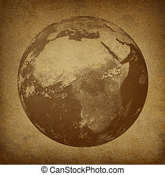 Africa and the middle East with Old Grunge Texture - Planet...