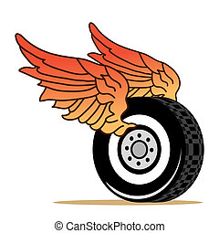 car tire wings - car tire with red wings
