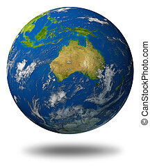 Earth Featuring Australia - Earth model planet featuring The...