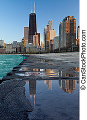 Chicago skyline - Image of the Chicago downtown lakefront at...