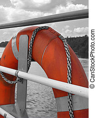 Lifebelt - A lifebuoy ring or lifebelt attached to a ship